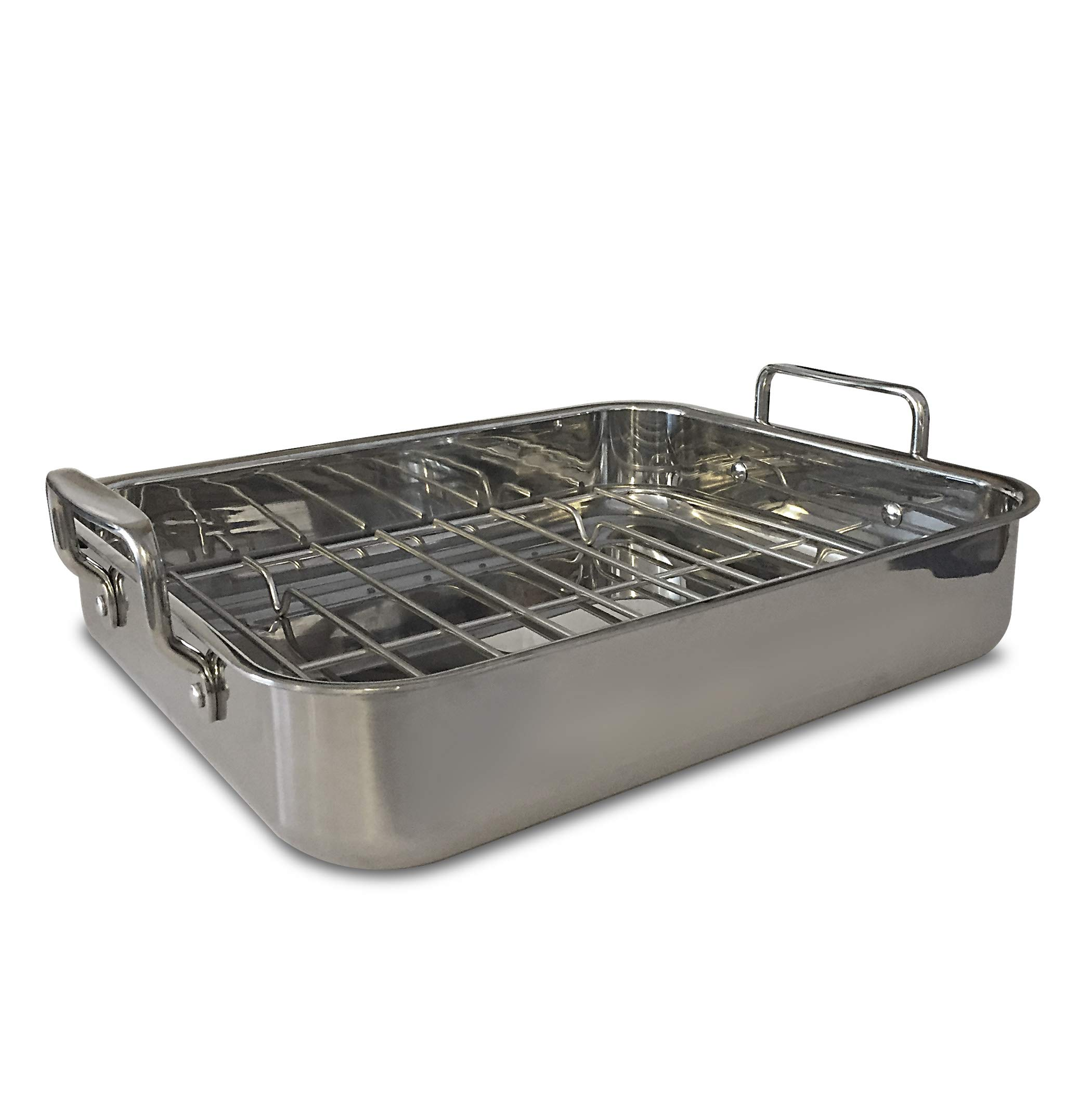 Gourmet Catalog Product 18'' Tri-Ply Stainless Steel Roasting Pan and Rack With Handles