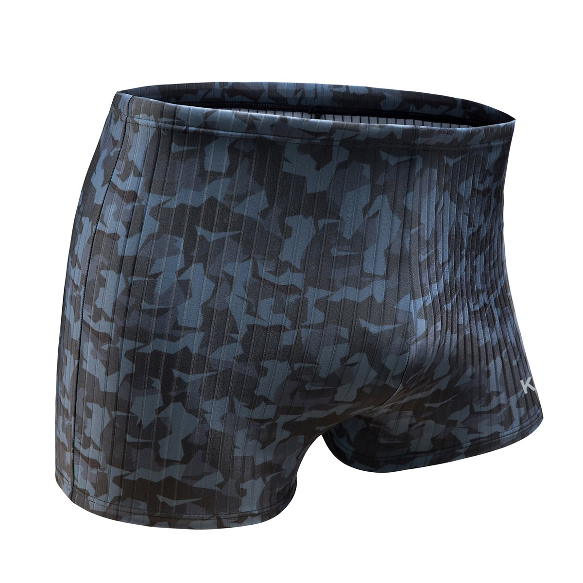 KGKE Swim Boxer Briefs Short Swim Jammer by Camo Racer Mens Square Leg Swimsuit (Grey Camo Strip, Small)