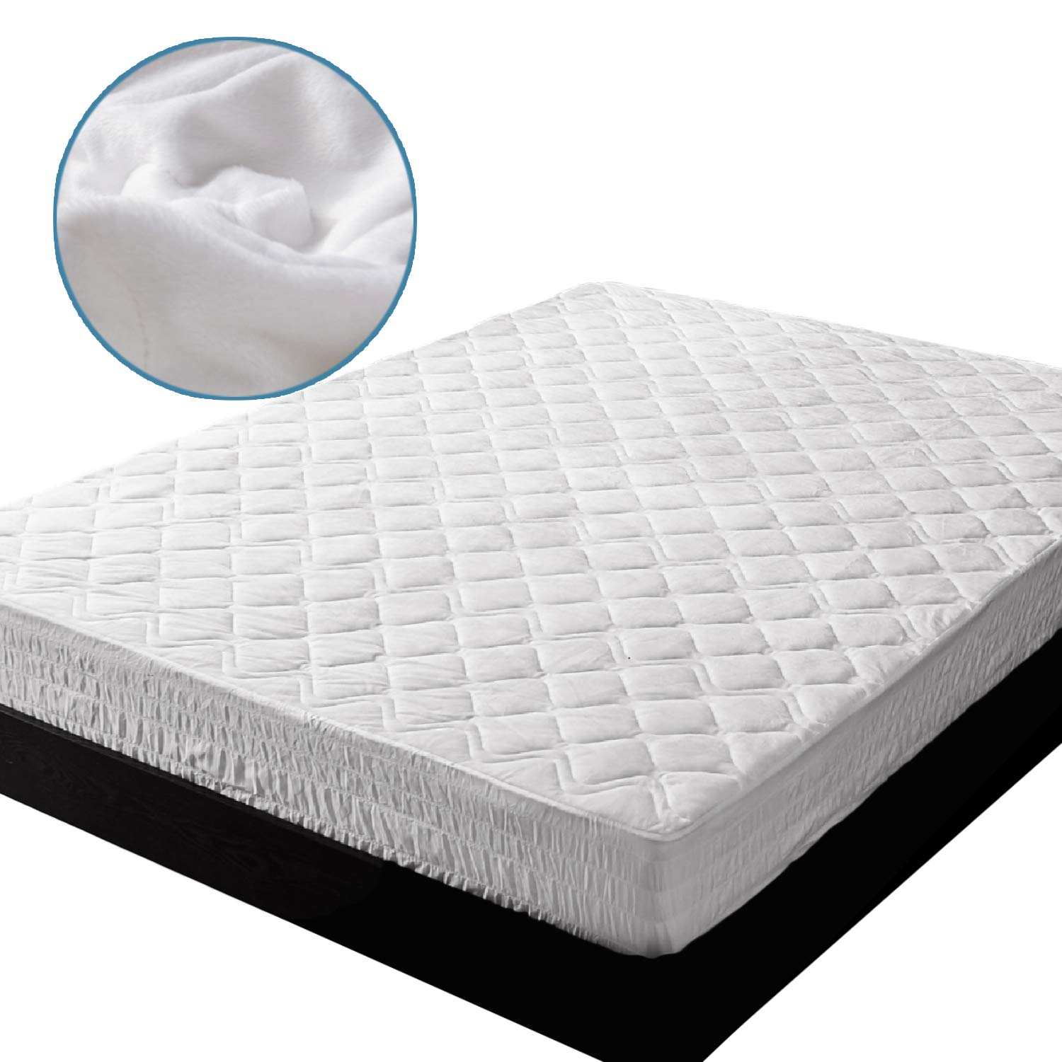 Bedsure Super Soft & Warm Mattress Pad Extra Large Twin XL Hypoallergenic Quilted Mattress Protector,Breathable Microplush Dust Mite Proof Fitted Sheet Mattress Cover,Up to 18'' Deep Pocket