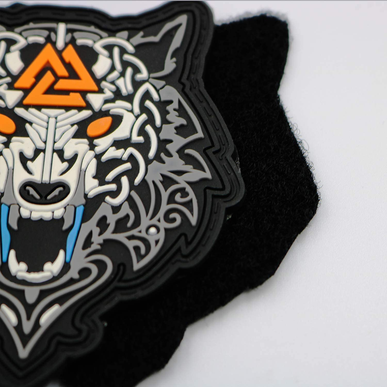 FiedFikt Parche t/áctico con dise/ño de Lobo Vikingo decoraci/ón t/áctica