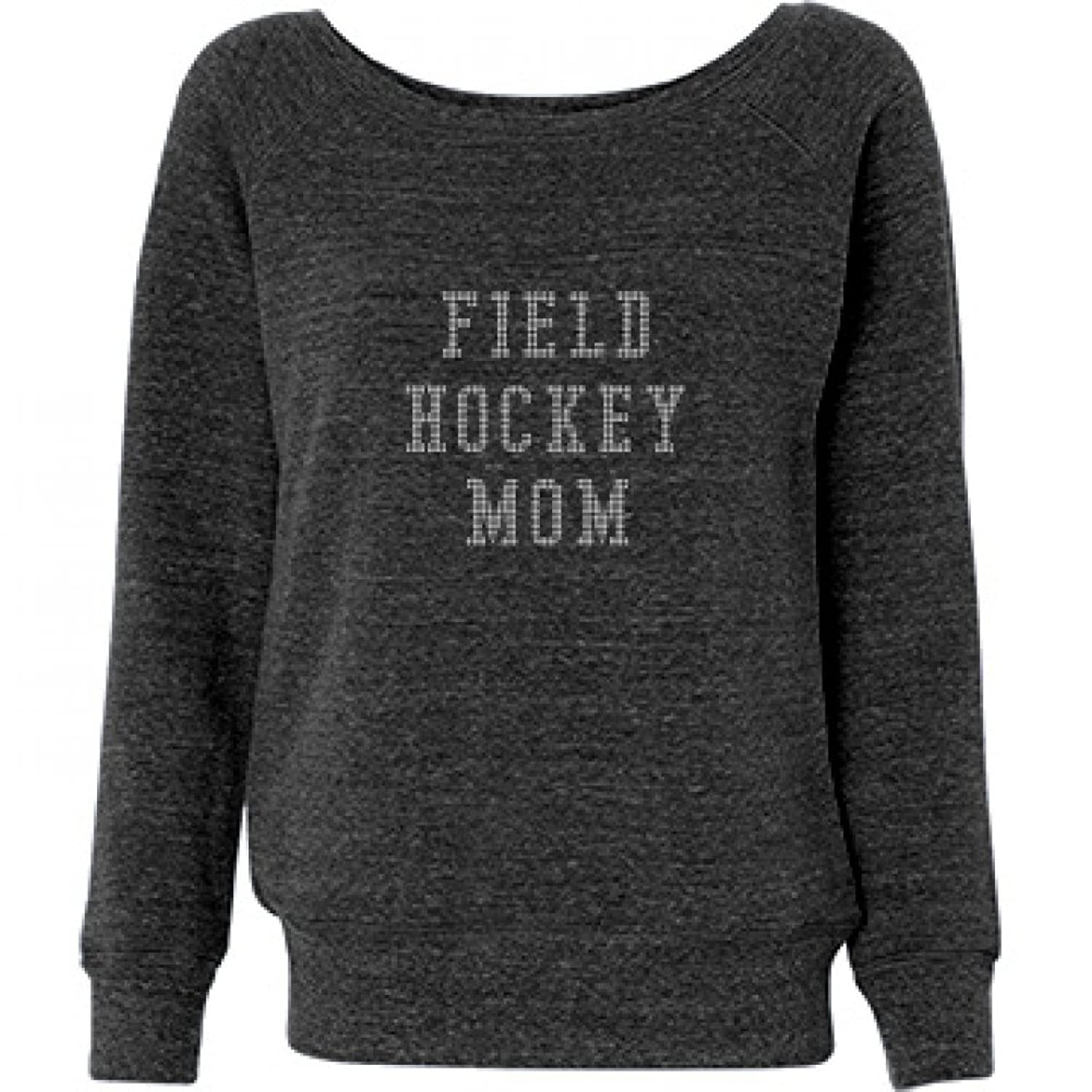 Field Hockey Rhinestone: Ladies Triblend Wideneck Sweatshirt