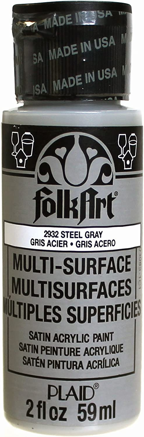 FolkArt Multi-Surface Paint in Assorted Colors (2 oz), 2932, Steel Gray