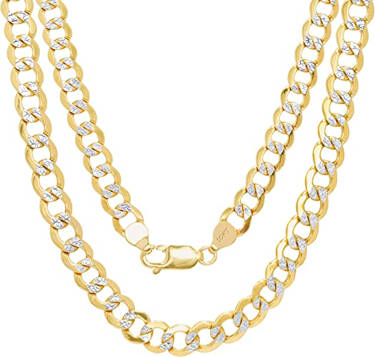 """30/"""" Solid 10K Yellow Gold 4mm Diamond Cut Pave Cuban Curb Chain Necklace 16/"""""""