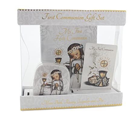 Deluxe First Communion Gift Set for Girls with Rosary and Case, Scapular, and Mass Book