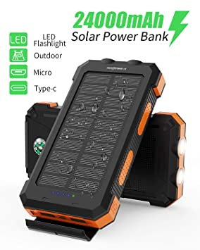 Batería Solar X-DRAGON 24000mAh Cargador Solar a Prueba de Agua con USB Doble, Linterna Dual, brújula para iPhone, iPad, Samsung, teléfonos celulares, ...