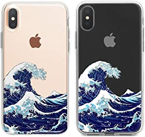 """uCOLOR Ocean Clear Case Compatible with iPhone Xs/X iPhone 10 Case (5.8"""") Japanese Waves Slim Hard PC Back TPU Bumper Crystal Clear Protective Case for iPhone Xs/X"""