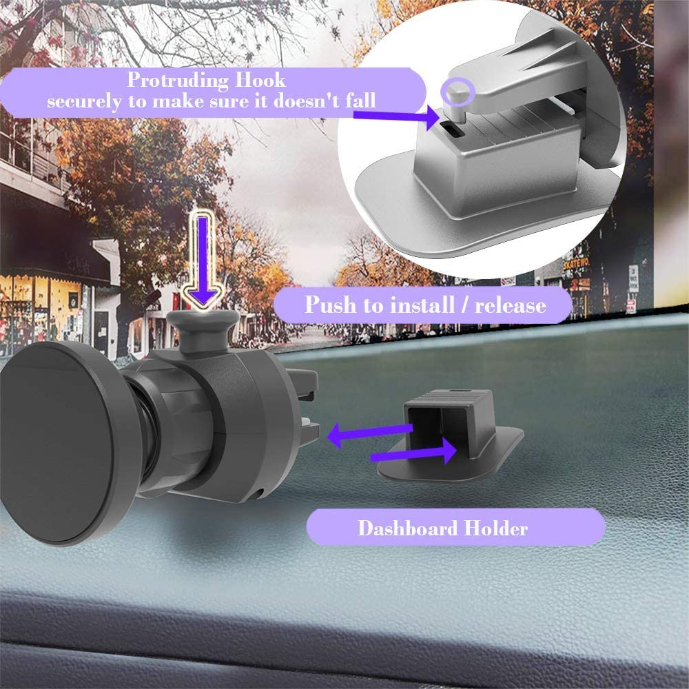 Universal Magnetic and clamp Holder 360/° Rotating Ball Joint 2 in 1 air Vent and Dashboard car Mount 2020 Incredible New Invention Hybrid Phone Holder USB Charger with Power Generator Monitor