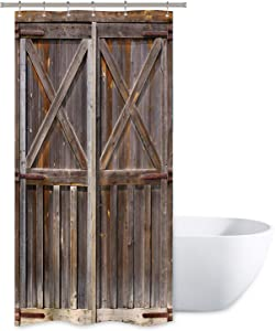 Riyidecor Stall Wooden Barn Door Shower Curtain 36Wx72H Inch Rustic Farmhouse Wood Western Country Brown Vintage Gate Fabric Polyester Waterproof Bathroom Home Decor 7 Pack Plastic Hooks