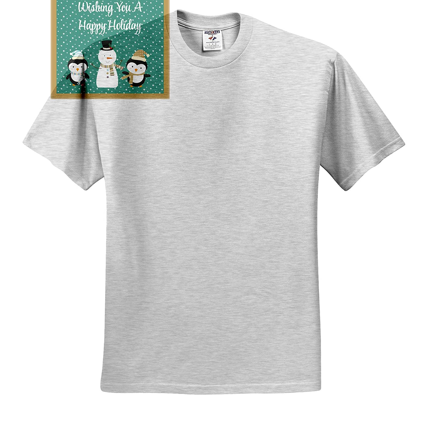 T-Shirts 3dRose TNMGraphics Christmas Happy Holidays Penguins and Snowman with Green Snowy Background