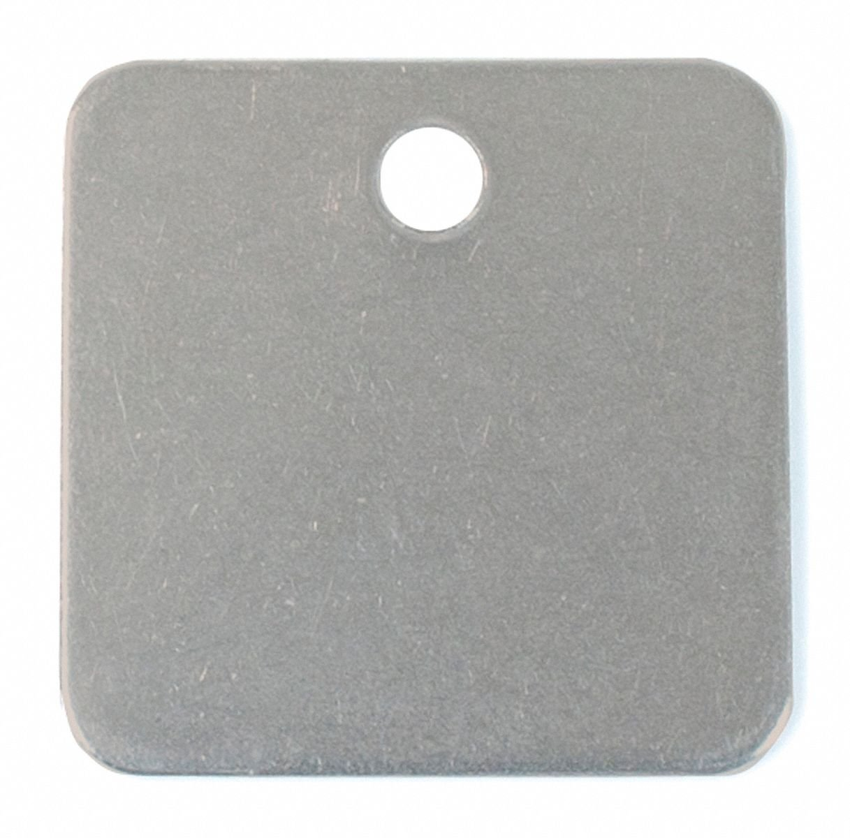 Steel Blank Tag, Stainless Steel, Square, 1-1/2'' Height, 10 PK