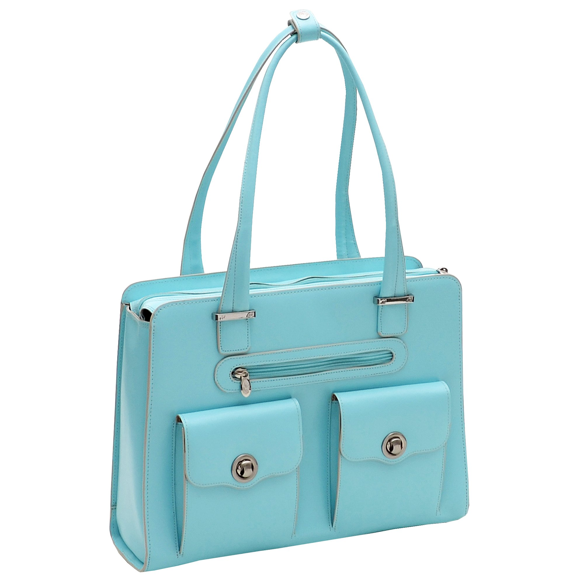 McKleinUSA VERONA 96628 Aqua Blue Leather Fly-Through Checkpoint-Friendly Ladies' Briefcase