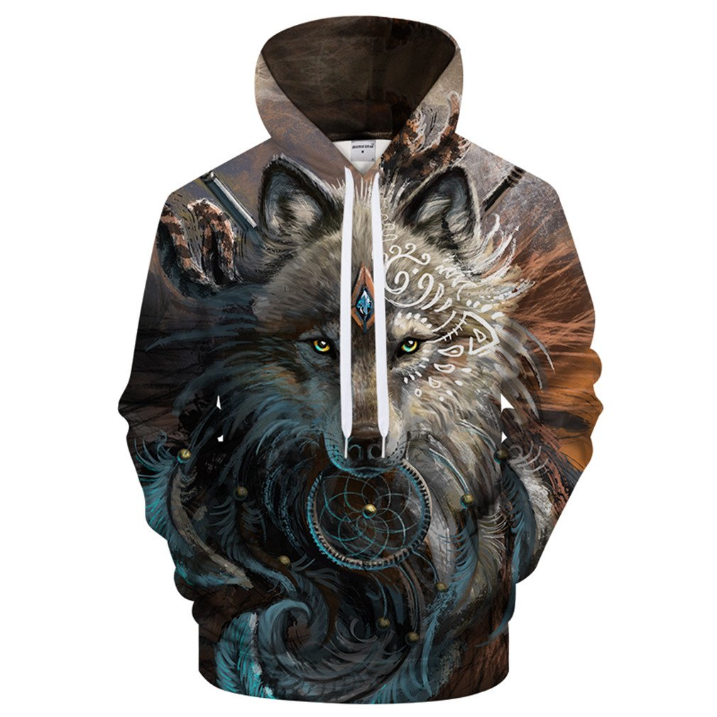 Qvfnaly Wolf Hoodies Unisex Hooded Sweatshits Animal Pullover Tracksuits Male Coat