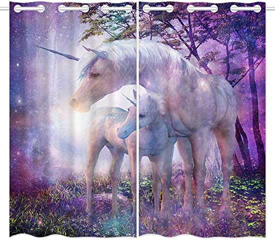 YISUMEI 54 x 84 inch Blackout Curtains Top Grommet Drapes 2 Panels Window Coverings Interior Decoration Fantasy Forest Unicorn Purple