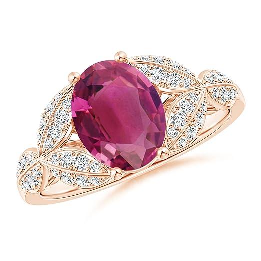 Angara Pink Tourmaline and Diamond Trillium Petal Flower Ring uDkiwX