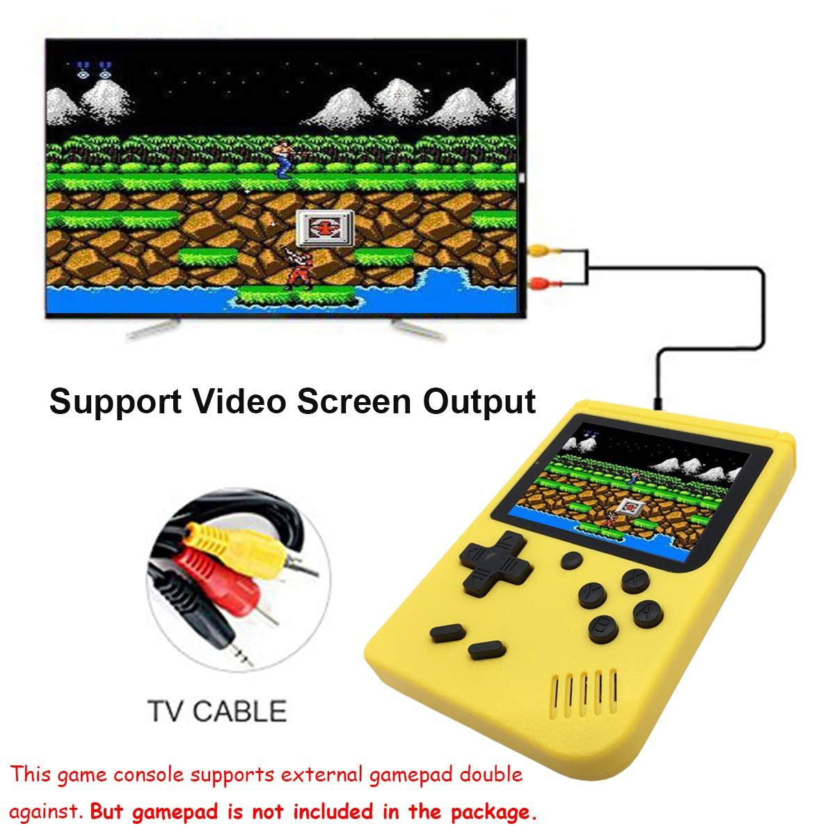 Fiotasy Handheld Retro FC Games Consoles with 400 NES Classic Games Portable Gameboy 3 Inch Color Screen 1000mAh Rechargeable Battery TV Output Birthday for Kids Boys Girls Men Women