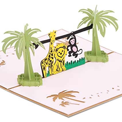 AIEX Birthday Card 3D Pop Up Jungle Animals Greeting Cards For Daughter Son