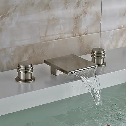Oulantron Deck Mount 3pcs Bathtub Faucet Waterfall Spout Two Knobs ...