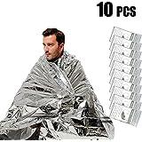 "UBEGOOD Emergency Blanket,10 Pack Silver Space Blanket, 52"" x 82"" Waterproof Mylar Thermal Foil Blanket for Outdoor, Survival, Camping, Hiking, Marathons, Homeless, First Aid"