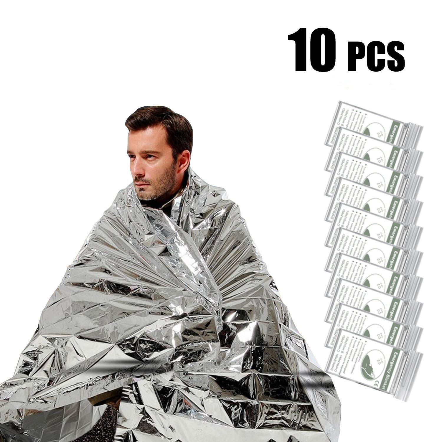 UBEGOOD Emergency Blanket,10 Pack Silver Space Blanket, 52'' x 82'' Waterproof Mylar Thermal Foil Blanket for Outdoor, Survival, Camping, Hiking, Marathons, Homeless, First Aid