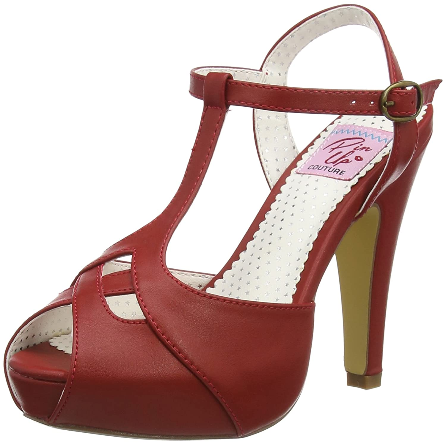 Pin Up Couture - Bettie-23, Sandali DonnaRot (Red Faux Leather)