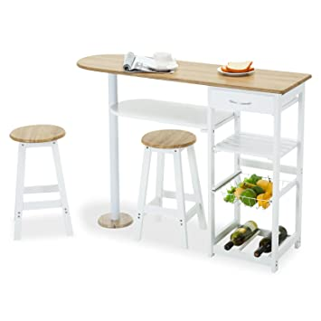 Mecor Kitchen Island Cart Table With 2 Stools U0026 1 Drawer,White
