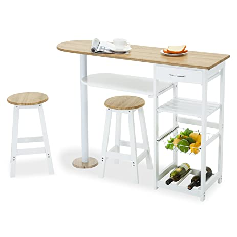 kitchen island cart with stools. Plain Island 4 Family Kitchen Island Cart Table With 2 Stools U0026 1 DrawerWhite In With A