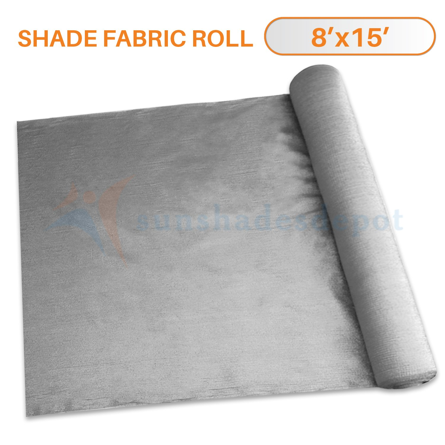 Sunshades Depot 8' x 15' Shade Cloth 180 GSM HDPE Light Grey Fabric Roll Up to 95% Blockage UV Resistant Mesh Net