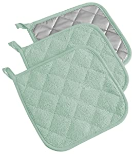 DII, Cotton Terry Pot Holders, Heat Resistant and Machine Washable, Set of 3, Mint