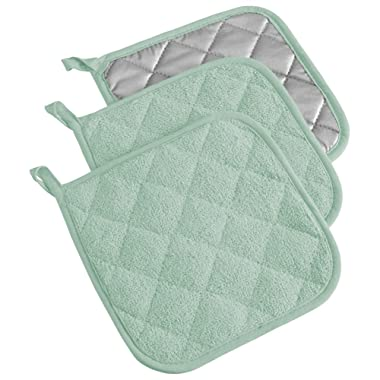 DII Cotton Terry Pot Holders, 7x7   Set of 3, Heat Resistant and Machine Washable Hot Pads for Kitchen Cooking and Baking-Mint