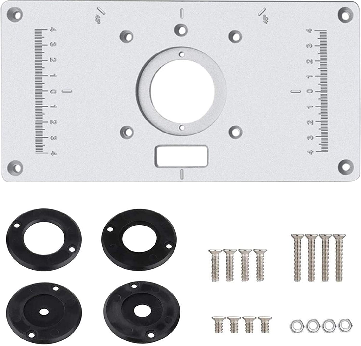 Aluminum Router Table Insert Plate for Popular Trimmers Router DIY Woodworking with 4 Rings and Screws for Woodworking Benches Router Table Plate Mounting Base Plate 9.3x4.7inch - -