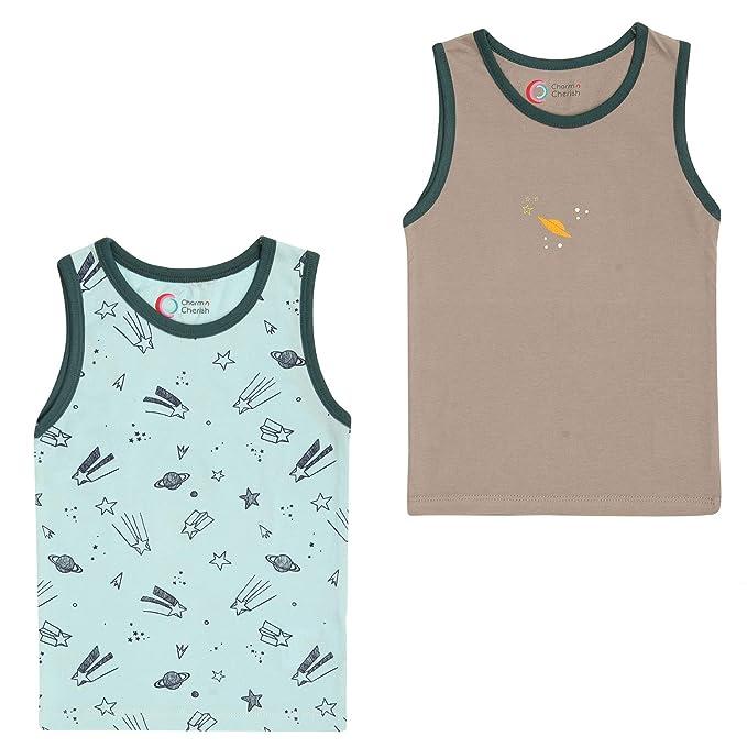 b439a5bb1 Charm n Cherish Kids Cotton Sleeveless Boys Vests (Pack of 2 ...