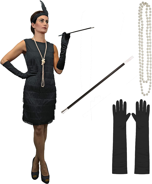 Ladies BLACK Flapper Peaky Blinders 1920/'s Charleston Fancy Dress Accessories
