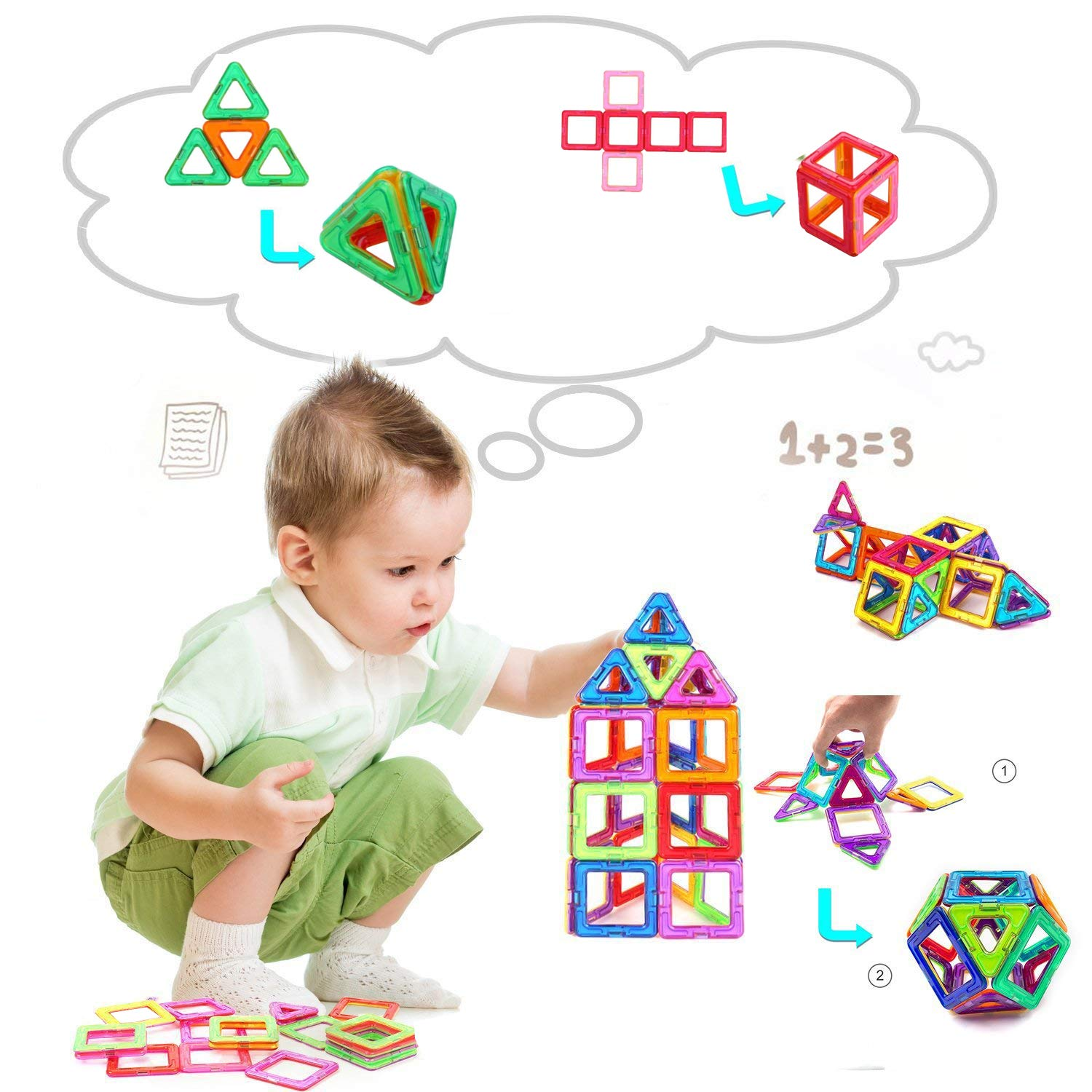 CONDIKS Magnetic Blocks 32PCS Magnetic Building Blocks Set Magnetic Toys Magnets for kids or Toddlers Magnetic Tiles STEM Educational Construction Puzzle Toys for Kids Age 3-8 Years Old boys girls YWQM