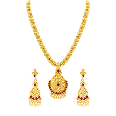 3a8e27e6f MFJ Fashion Jewellery Traditional Collection Cz American Diamond 1 Gram Gold  Plated Necklace Set for Women: Amazon.in: Jewellery