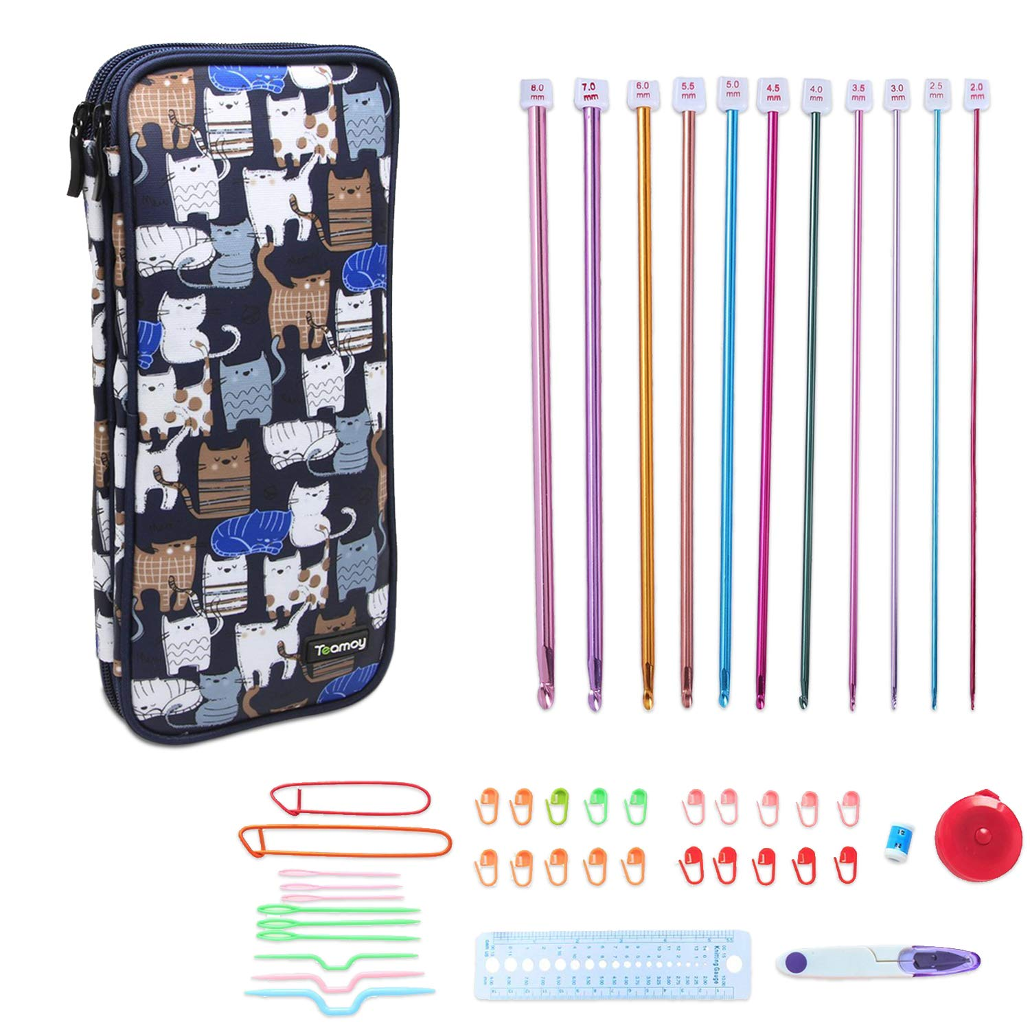 Teamoy Aluminum Tunisian Crochet Hooks Set, Afghan Kits with Case, 11pcs 2mm to 8mm Afghan Hooks and Accessories, Compact and Easy to Carry, Blue Cats Damero INC