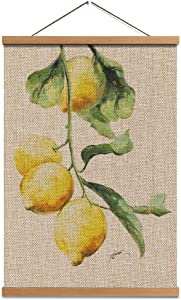 Hanging Poster Lemon Wall Art - Linen Canvas Prints Fruit Painting Lemon Picture with Scroll Teak Wood Hanger Ready to Hang for Wall Decor 16x24inch