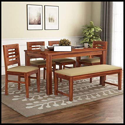 Piyush Home Decor Sheesham Wood Dining Table Set For Living Room Drawing Room 6 Seater Dining Table With Bench Natural Finish With Cream Cushions Amazon In Home Kitchen