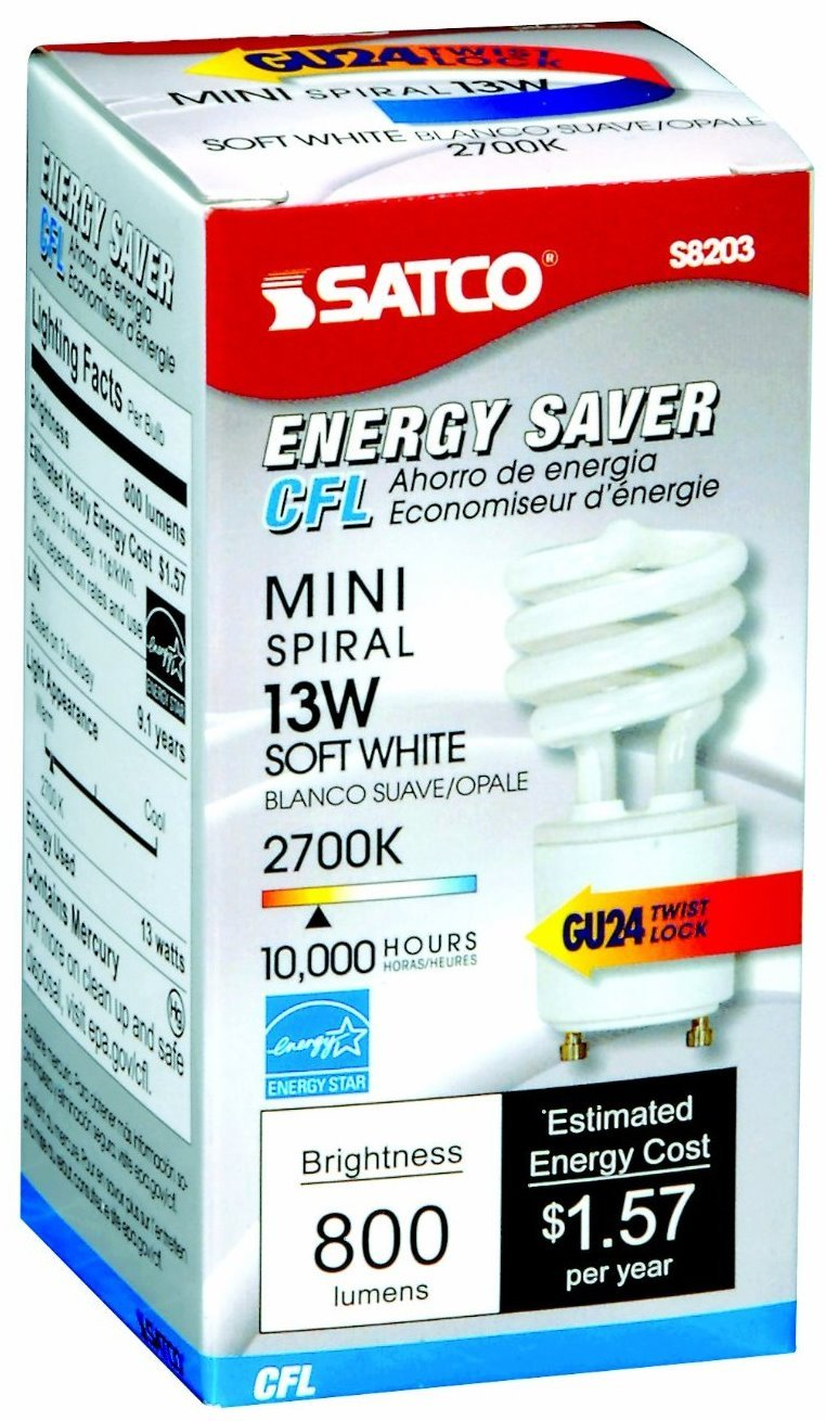 12 Pack Satco S8203 13 Watt T2 Ultra Mini Spiral 2700K Soft White Compact Fluorescent Light Bulb with GU24 Base (60 Watt Replacement)