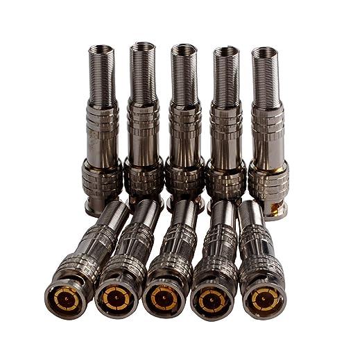 conwork paquete de 10 unidades DIY conectores de vídeo BNC para CCTV Coaxial RG59/RG60