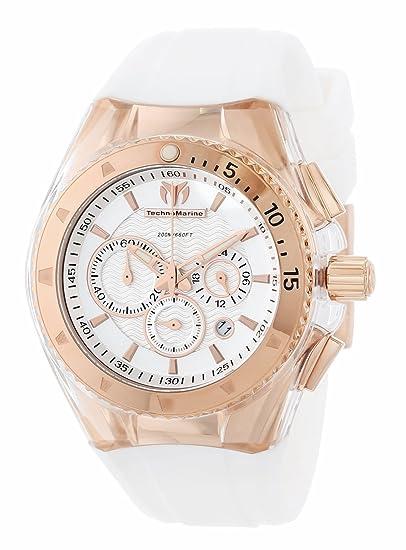Technomarine Cruise Original Star - Reloj cronógrafo de mujer de cuarzo con correa de goma blanca - sumergible a 200 metros: Amazon.es: Relojes