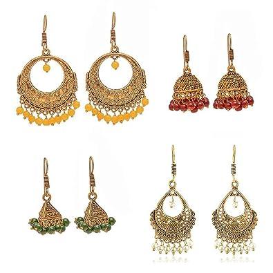 bf779ffa Geode Delight Oxidized Metal Gold Finish Women Fashion Jhumka Jhumki  Earrings Combo Set of 4 Earring Pair
