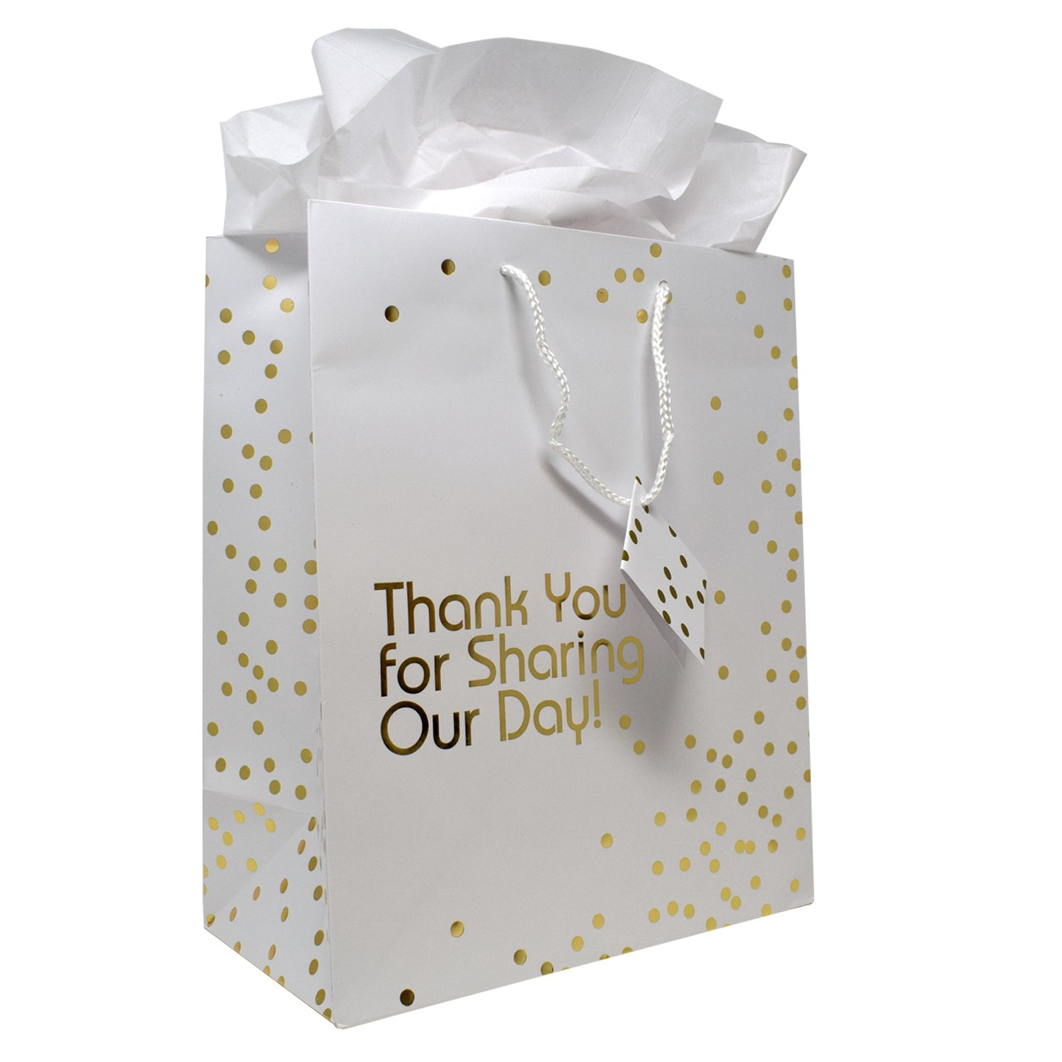 Amazon.com: 12 Gift Boutique Large Wedding Gift Bags; Metallic Gold ...