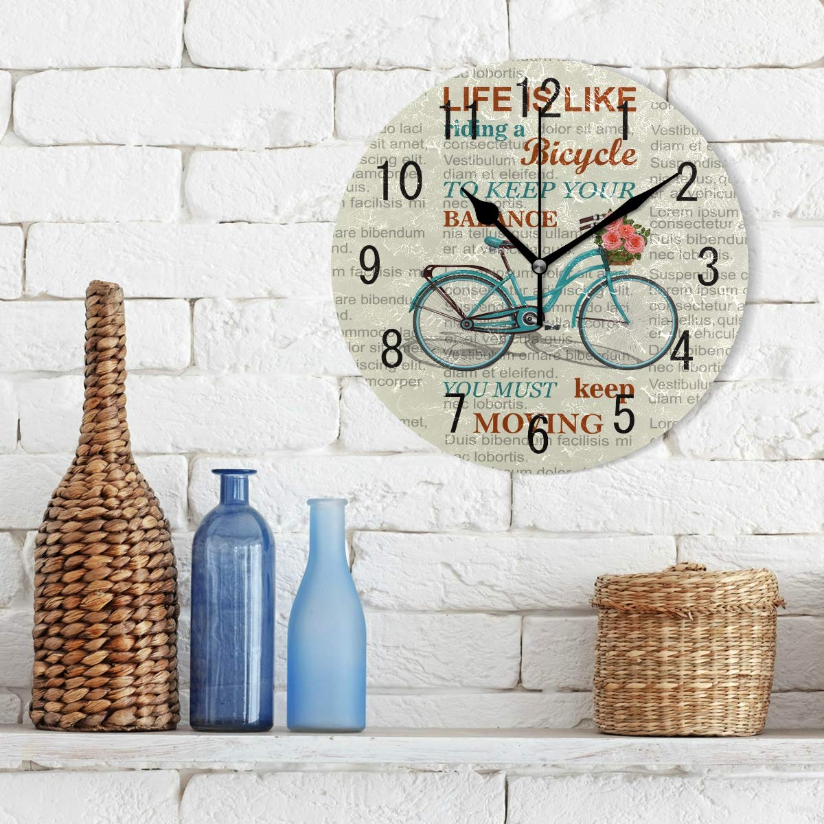 Amazon.com: ALAZA Home Decor Inspirational Quote Newspaper Bicycle Round Acrylic Wall Clock Non Ticking Silent Clock Art for Living Room Kitchen Bedroom: ...