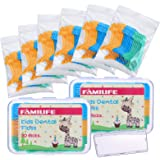 FAMILIFE Kid's Dental Floss Picks Fluoride Free, Unflavored Fun Flossing Children with Portable Travel Cases Refills Pack, 20