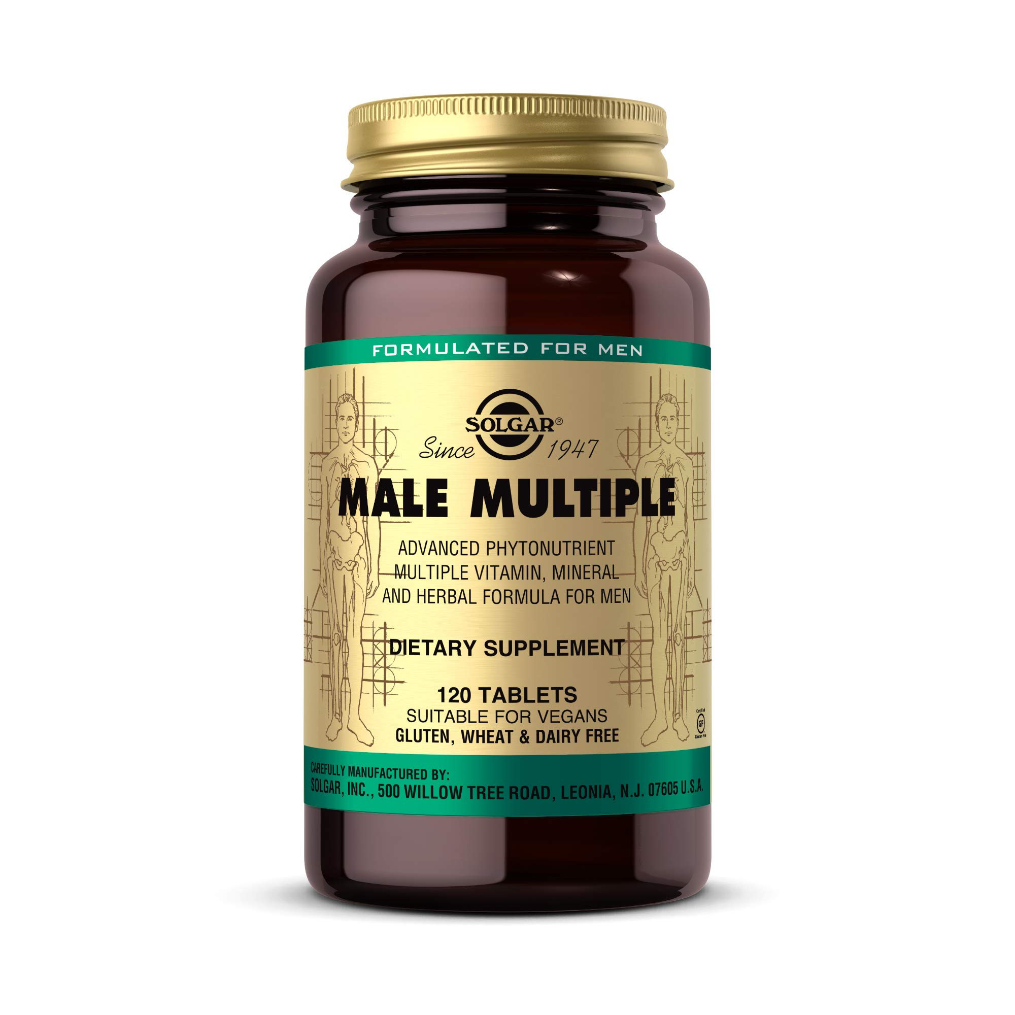 Solgar Male Multiple, 120 Tablets - Multivitamin, Mineral & Herbal Formula for Men - Advanced Phytonutrient - Vegan, Gluten Free, Dairy Free - 40 Servings