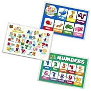 Baby PhD   Let's Learn Design Pack Disposable Placemats for Babies & Toddlers   60 Count