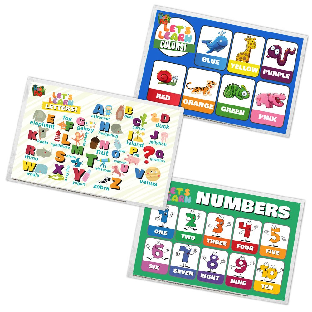 Baby PhD | Let's Learn Design Pack Disposable Placemats for Babies & Toddlers | 60 Count