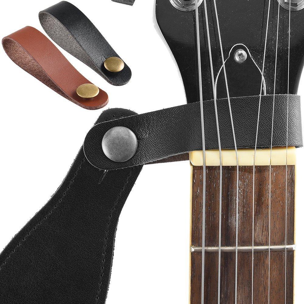 2 correas para guitarra + 2 botones de correa + 4 cierres de seguridad + 3 púas esmeriladas para guitarra acústica y eléctrica: Amazon.es: Instrumentos ...
