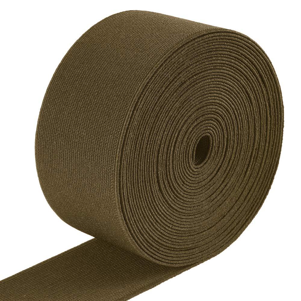 1-Inch Knit Elastic Strap, Heavy Stretch High Elasticity Knit Elastic Band 6.6 Yards, Black Elino
