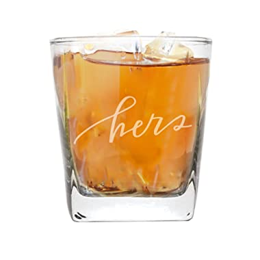 My Personal Memories His and Her Beer Pint, Stemless Wine, Whiskey Rocks Glasses - Bride and Groom Barware Wedding, Couples (Square Rocks Glass 9oz, Hers Script)